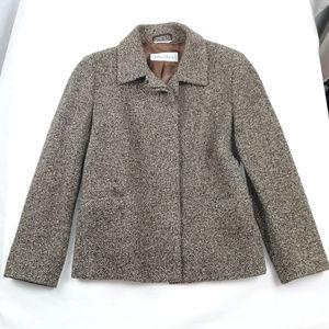 Max Mara Wool Cashmere Blend Herringbone Blazer 10